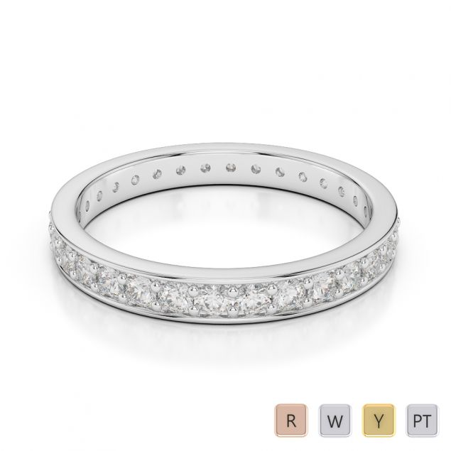 2.5 MM Gold / Platinum Diamond Full Eternity Ring AGDR-1079