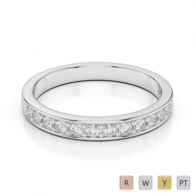 2.5 MM 18 Kt White Gold Round Cut Diamond Half Eternity Ring AGDR-1083