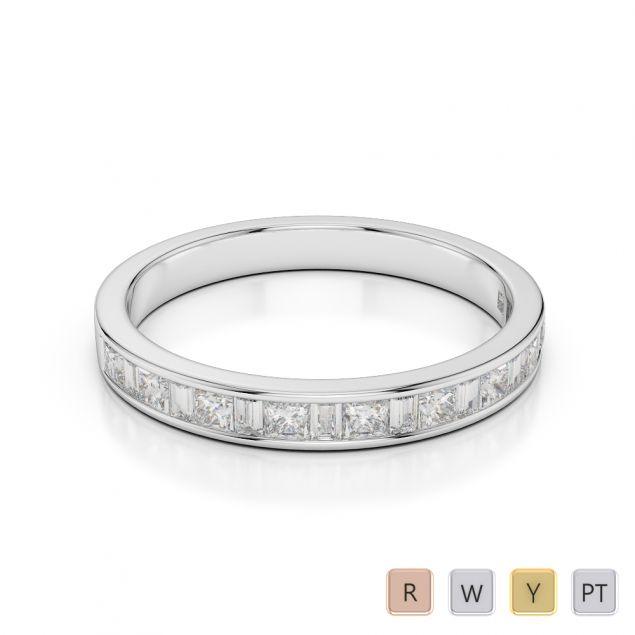 Gold / Platinum Diamond Half Eternity Ring AGDR-1142