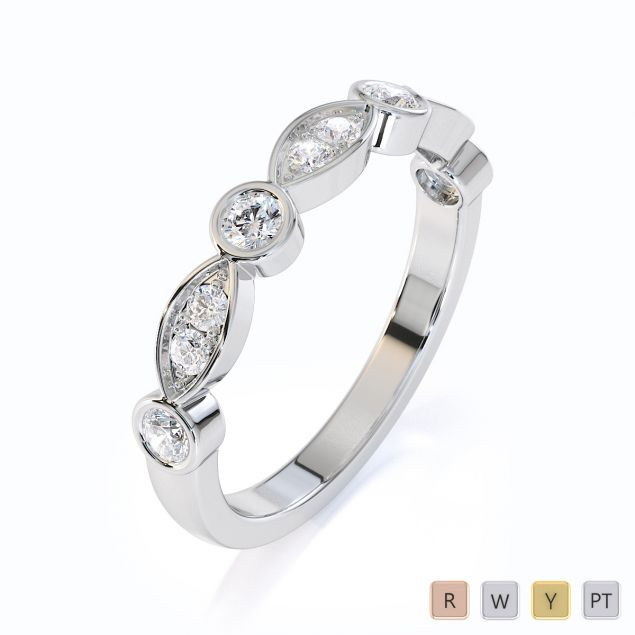 Gold / Platinum Diamond Half Eternity Ring RZ1511
