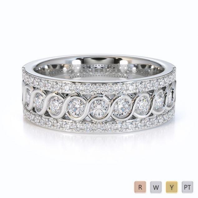 Gold / Platinum Diamond Half Eternity Ring RZ1525
