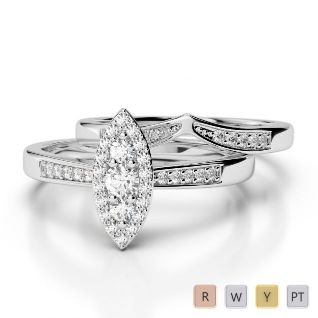 Gold / Platinum Round cut Diamond Bridal Set Ring AGDR-1050