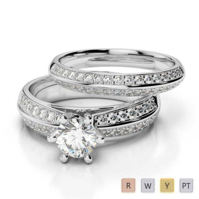 Gold / Platinum Round cut Diamond Bridal Set Ring AGDR-1147