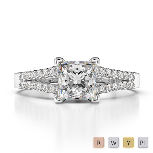 Gold / Platinum Diamond & Gemstone Engagement Ring AGDR-1211