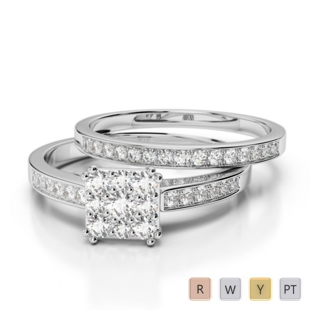 Gold / Platinum Diamond Bridal Set Ring AGDR-2029