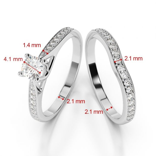 Gold / Platinum Diamond & Gemstone Bridal Set Ring AGDR-2053