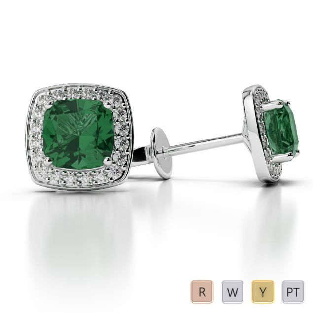 Cushion Shape Emerald and Diamond Earrings in Gold / Platinum AGER-1061