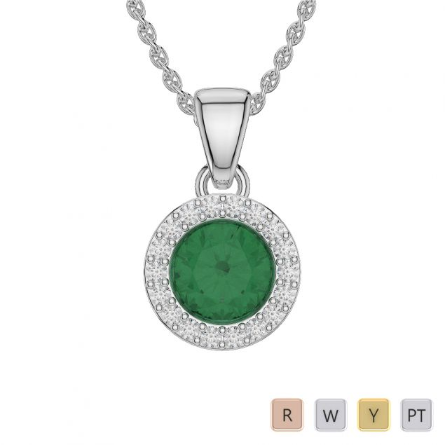 Round Shape Emerald and Diamond Necklaces in Gold / Platinum AGDNC-1075