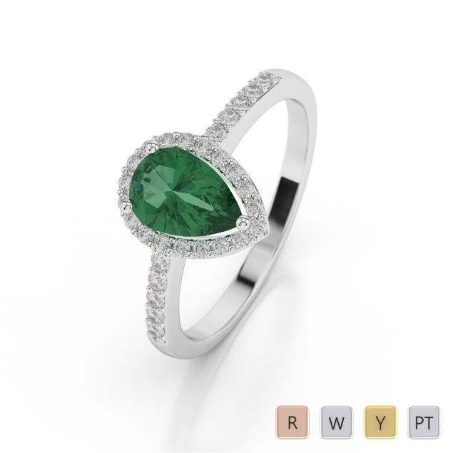 Gold / Platinum Pear Shape Emerald and Diamond Ring AGDR-1074