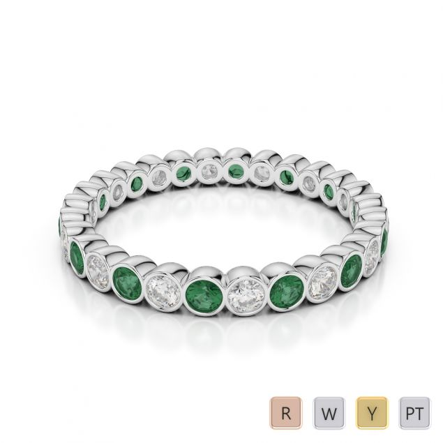2.5 MM Gold / Platinum Round Cut Emerald and Diamond Full Eternity Ring AGDR-1099
