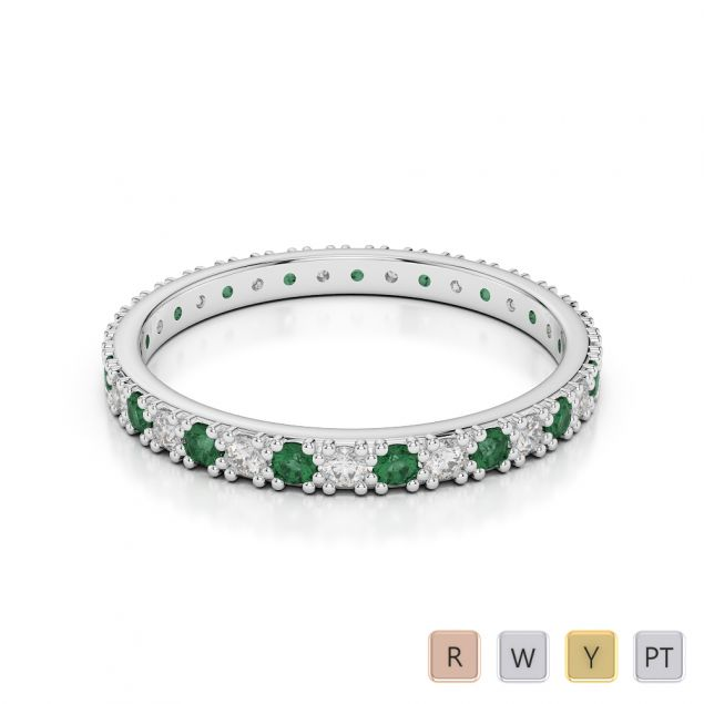 Gold / Platinum Round Cut Emerald and Diamond Full Eternity Ring AGDR-1126