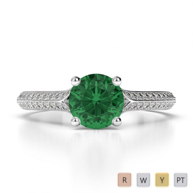 Gold / Platinum Round Cut Emerald and Diamond Engagement Ring AGDR-1200