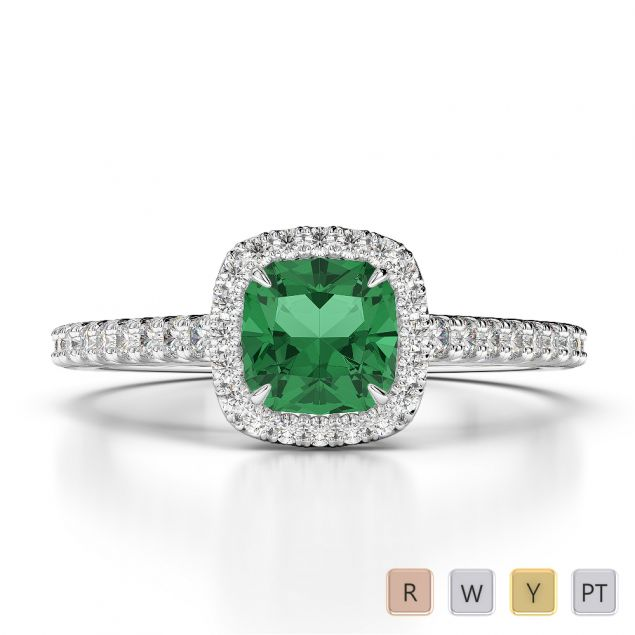 Gold / Platinum Round and Cushion Cut Emerald and Diamond Engagement Ring AGDR-1212