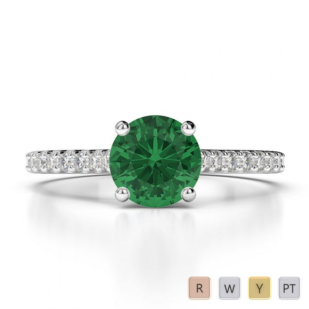 Gold / Platinum Round Cut Emerald and Diamond Engagement Ring AGDR-1213
