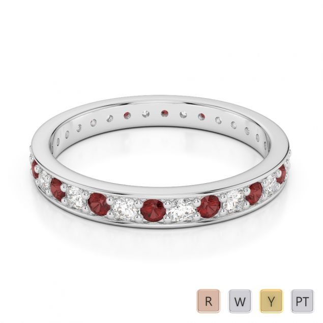 Gold / Platinum Round Cut Garnet and Diamond Full Eternity Ring AGDR-1079