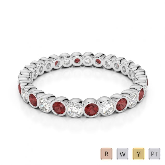 2.5 MM Gold / Platinum Round Cut Garnet and Diamond Full Eternity Ring AGDR-1099