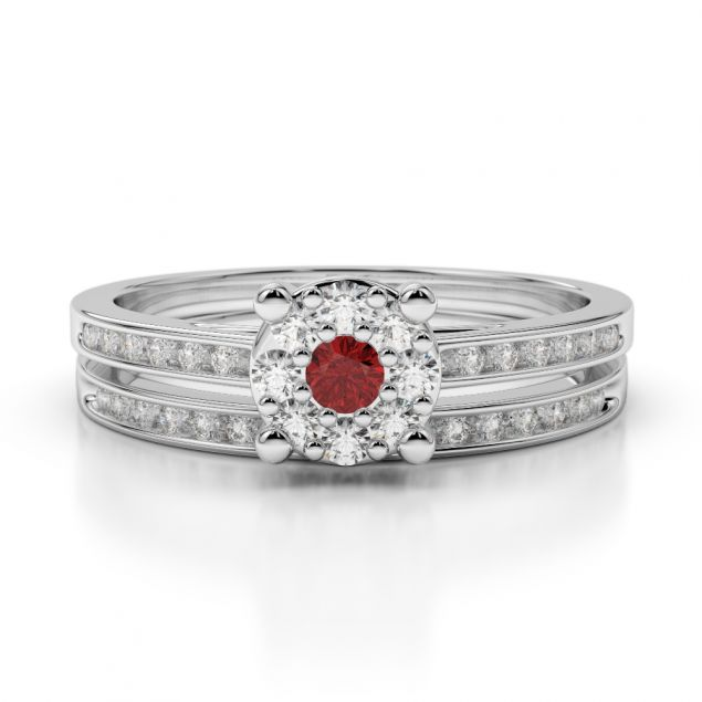 Gold / Platinum Round cut Garnet and Diamond Bridal Set Ring AGDR-1052