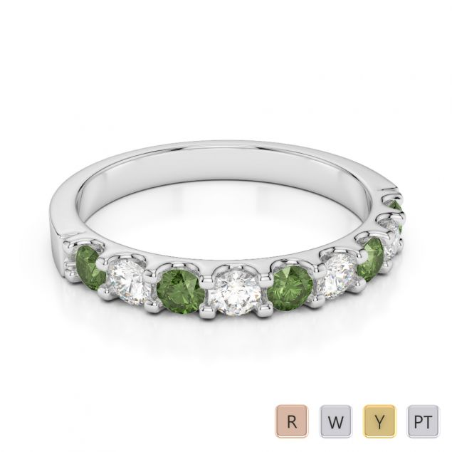 2.5 MM Gold / Platinum Round Cut Green Tourmaline and Diamond Half Eternity Ring AGDR-1108