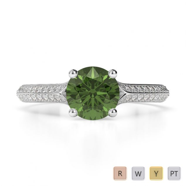 Gold / Platinum Round Cut Green Tourmaline and Diamond Engagement Ring AGDR-1200