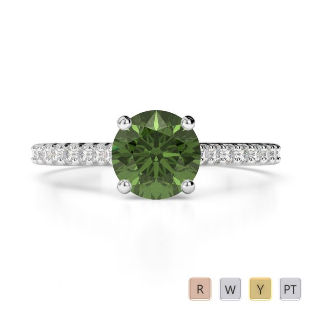 Gold / Platinum Round Cut Green Tourmaline and Diamond Engagement Ring AGDR-1213