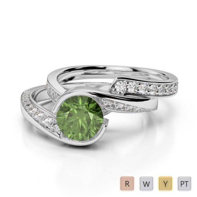 Gold / Platinum Round cut Green Tourmaline and Diamond Bridal Set Ring AGDR-2019