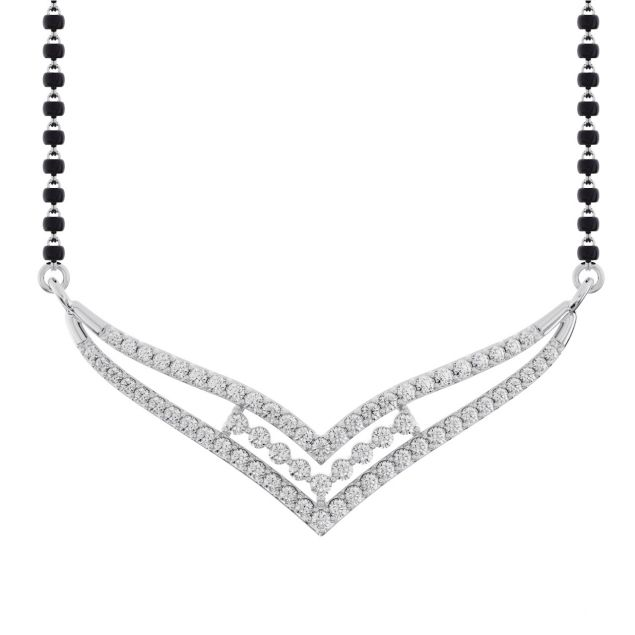 Gold / Platinum Round Cut Diamond Mangalsutra TZ0019