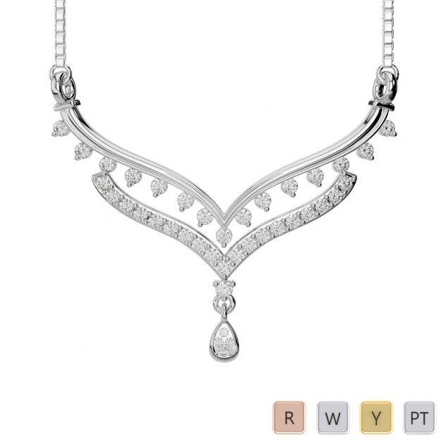 Gold / Platinum Diamond Necklace with Chain DNC-2189