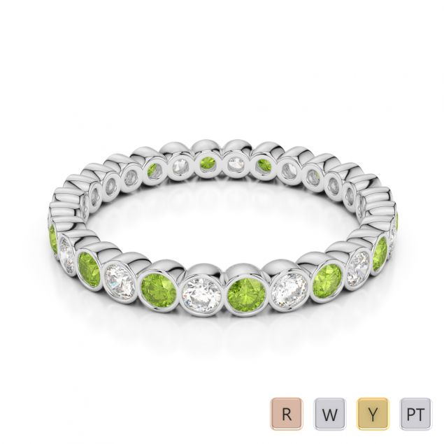 Gold / Platinum Round Cut Peridot and Diamond Full Eternity Ring AGDR-1099