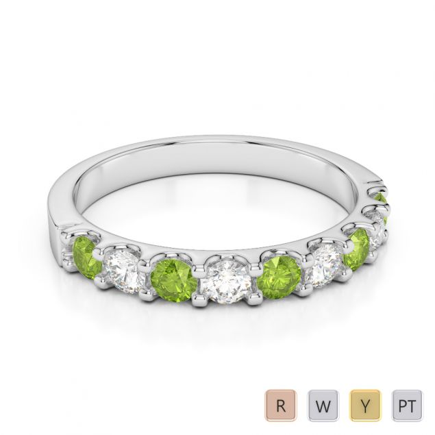 2.5 MM Gold / Platinum Round Cut Peridot and Diamond Half Eternity Ring AGDR-1108