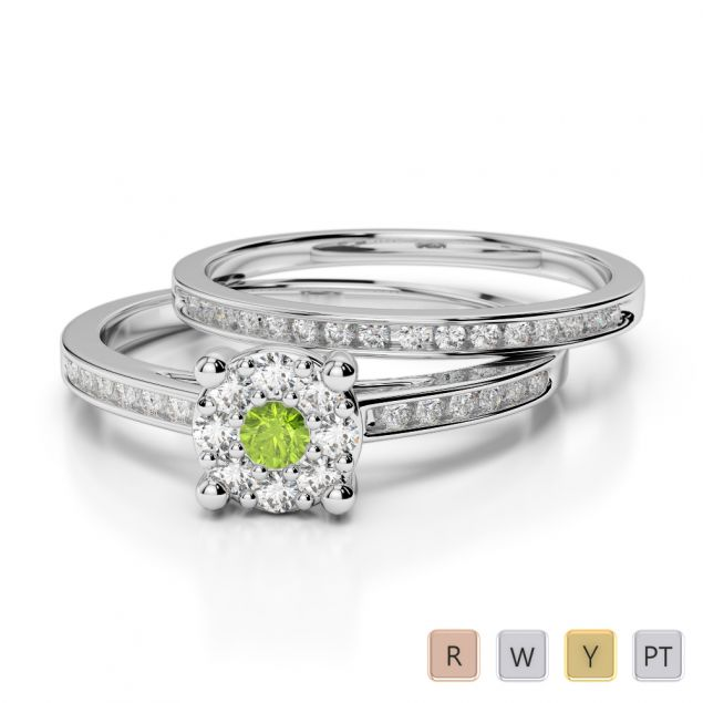 Gold / Platinum Round cut Peridot and Diamond Bridal Set Ring AGDR-1052