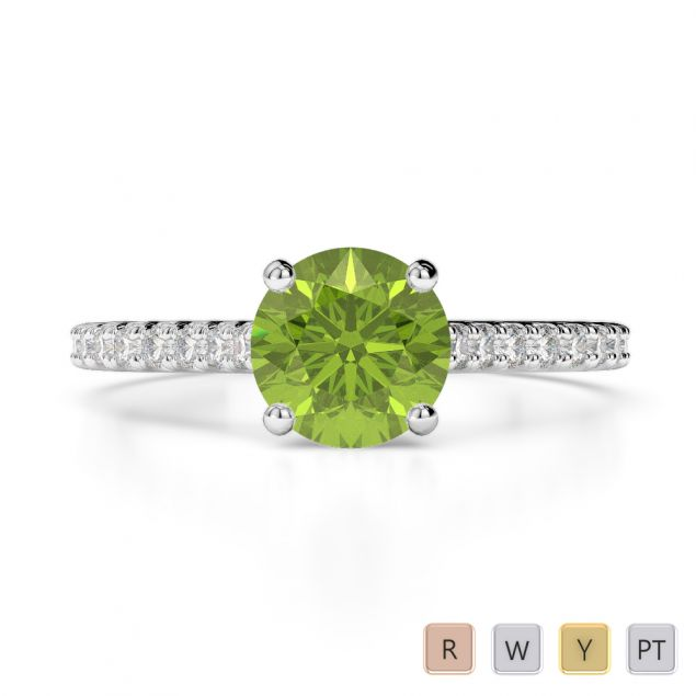 Gold / Platinum Round Cut Peridot and Diamond Engagement Ring AGDR-1213