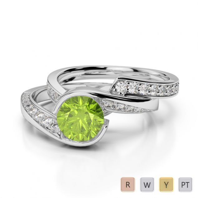 Gold / Platinum Round cut Peridot and Diamond Bridal Set Ring AGDR-2019