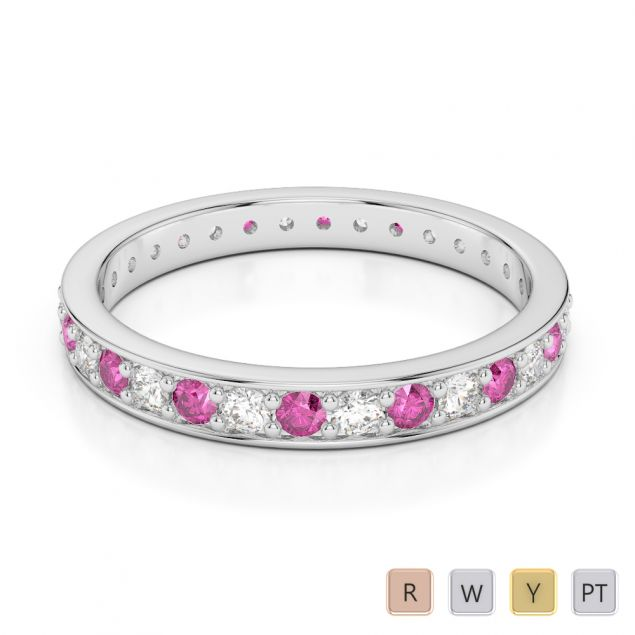 2.5 MM Gold / Platinum Round Cut Pink Sapphire and Diamond Full Eternity Ring AGDR-1079
