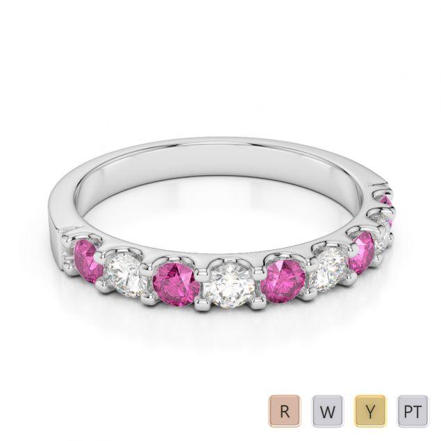 2.5 MM Gold / Platinum Round Cut Pink Sapphire and Diamond Half Eternity Ring AGDR-1108