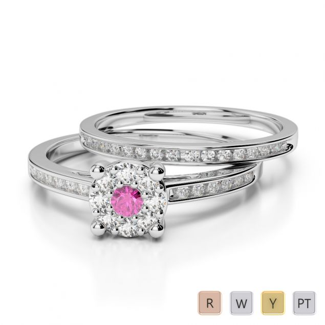 Gold / Platinum Round cut Pink Sapphire and Diamond Bridal Set Ring AGDR-1052