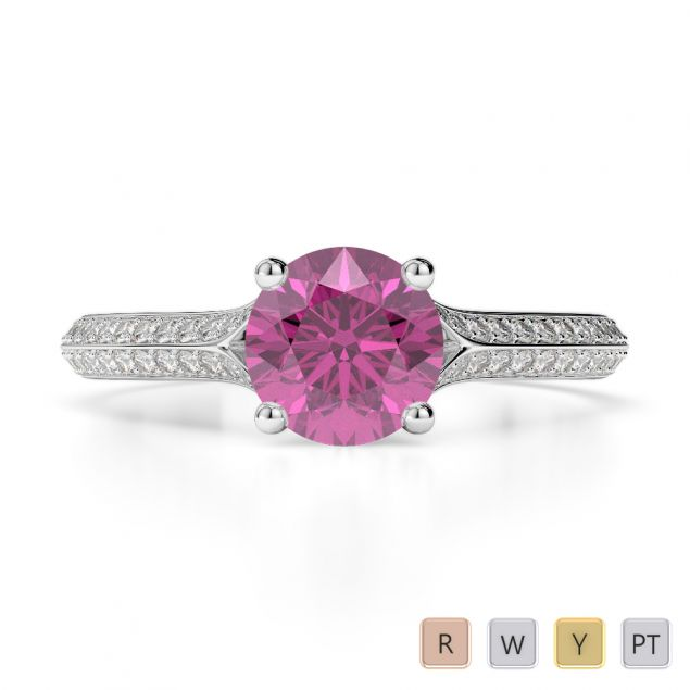 Gold / Platinum Round Cut Pink Sapphire and Diamond Engagement Ring AGDR-1200