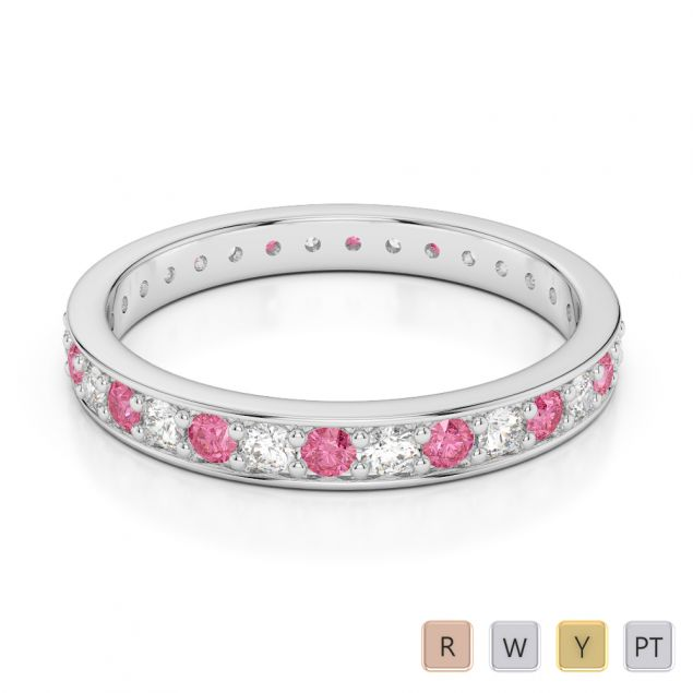 2.5 MM Gold / Platinum Round Cut Pink Tourmaline and Diamond Full Eternity Ring AGDR-1079