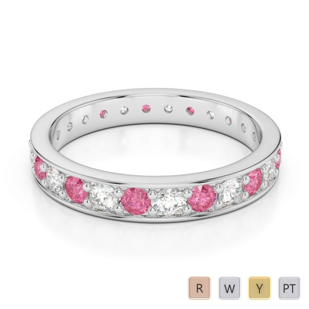Gold / Platinum Round Cut Pink Tourmaline and Diamond Full Eternity Ring AGDR-1080