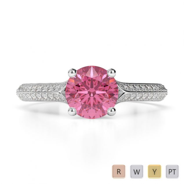 Gold / Platinum Round Cut Pink Tourmaline and Diamond Engagement Ring AGDR-1200