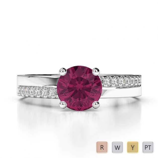 Gold / Platinum Diamond & Gemstone Engagement Ring AGDR-1206