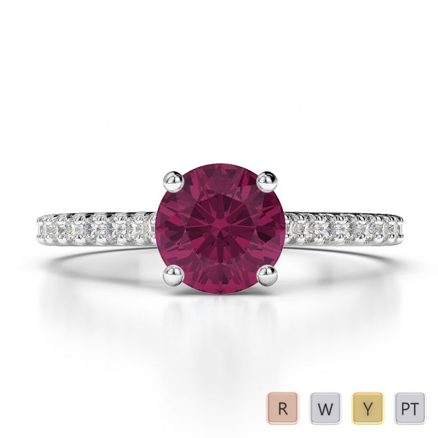 Gold / Platinum Round Cut Ruby and Diamond Engagement Ring AGDR-1213