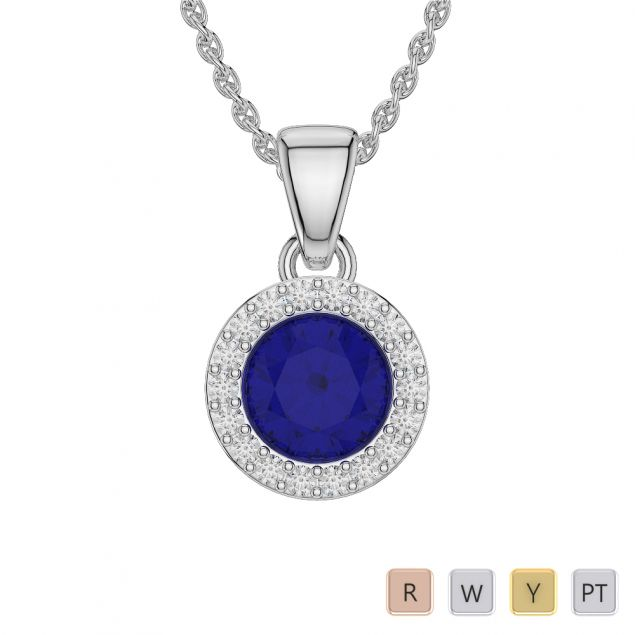 Round Shape Sapphire and Diamond Necklaces in Gold / Platinum AGDNC-1075