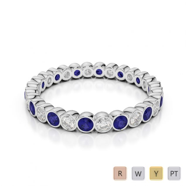 2.5 MM Gold / Platinum Round Cut Blue Sapphire and Diamond Full Eternity Ring AGDR-1099