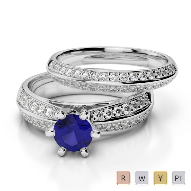 Gold / Platinum Round cut Sapphire and Diamond Bridal Set Ring AGDR-1147