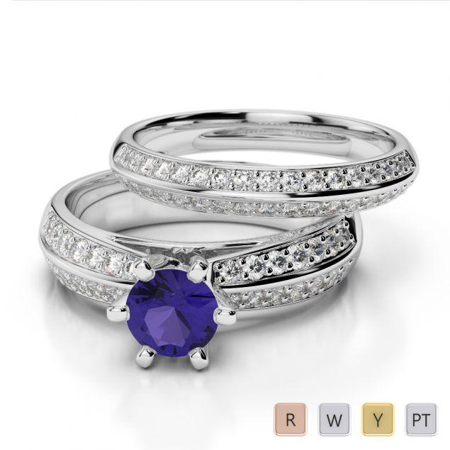 Gold / Platinum Round cut Tanzanite and Diamond Bridal Set Ring AGDR-1147