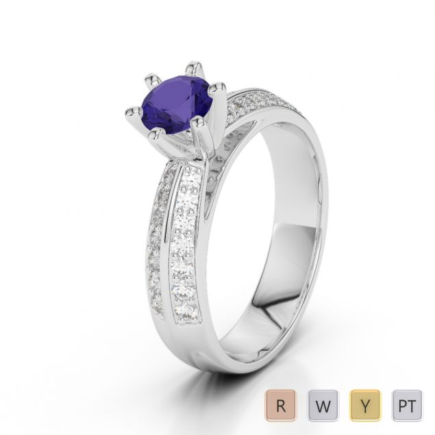 Gold / Platinum Round Cut Tanzanite and Diamond Engagement Ring AGDR-1174