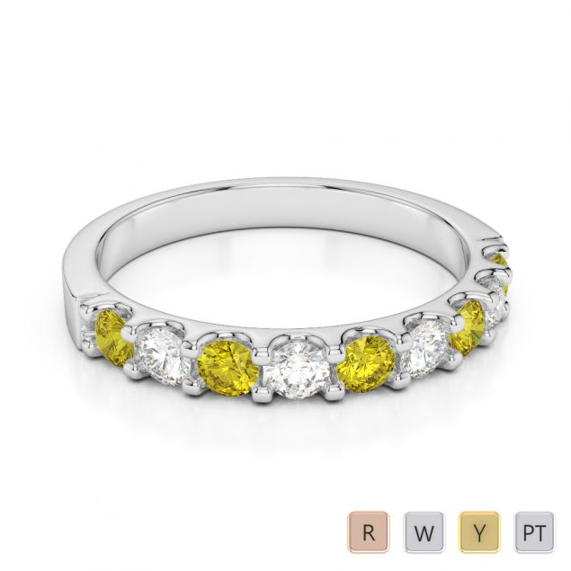 2.5 MM Gold / Platinum Round Cut Yellow Sapphire and Diamond Half Eternity Ring AGDR-1108