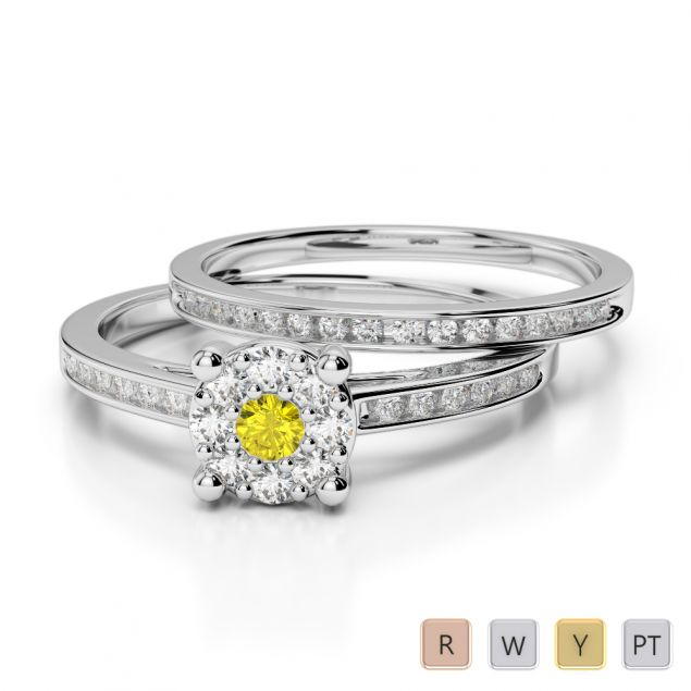 Gold / Platinum Round cut Yellow Sapphire and Diamond Bridal Set Ring AGDR-1052