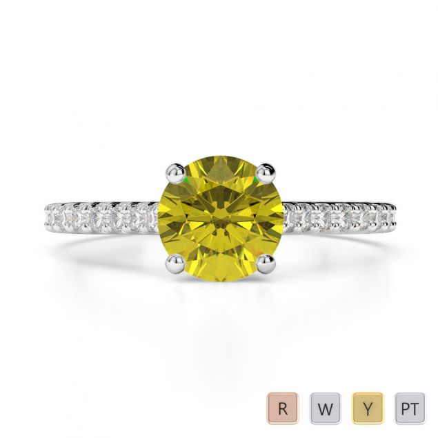 Gold / Platinum Round Cut Yellow Sapphire and Diamond Engagement Ring AGDR-1213