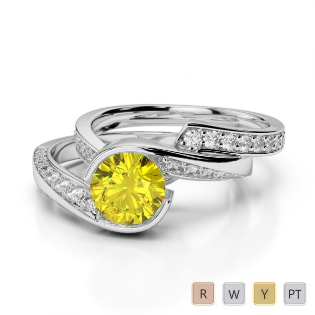 Gold / Platinum Round cut Yellow Sapphire and Diamond Bridal Set Ring AGDR-2019
